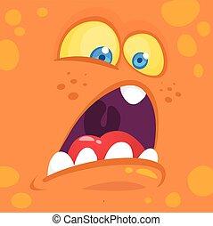 Monster alien face cartoon creature avatar illustration vector stock