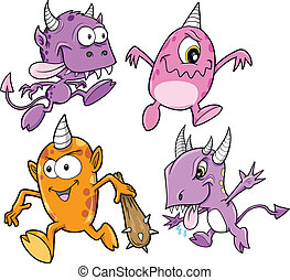 monster, alien, schepsel, vector, set