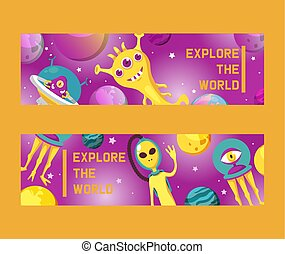 Monster alien set of banners vector illustration. Cartoon monstrous character, cute alienated creature or funny gremlin on halloween for kids. Spacecraft in cosmos among stars. Explore the world.