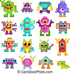 Monster alien vector cartoon pixel monstrous character of monstrosity and alienation illustration monstrously set of cute alienated pixy creature on halloween for kids isolated on white background.