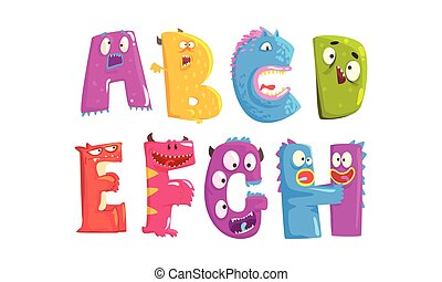 Monster Alphabetical Letters From A to H Vector Set