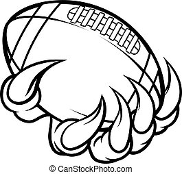 Monster animal claw holding American Football Ball - A...
