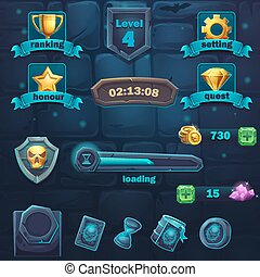 Monster battle GUI set items buttons and icon