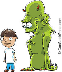 Monster Behind Boy - A cartoon boy suspects that a monster...