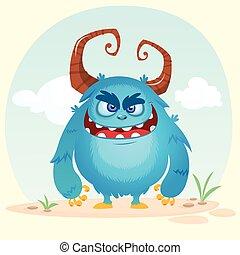 monster., carino, mostro, seduta, waving., halloween, cornuto, blu, vettore, cartone animato, felice
