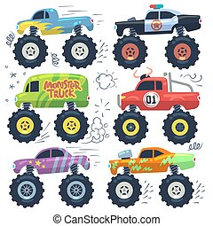 Monster cars. Cartoon cars with big wheels. Isolated vector set