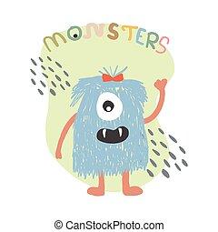 Monster cartoon style. hand drawn Cute cartoon scary funny character. Happy Halloween. Baby Flat design. Vector illustration