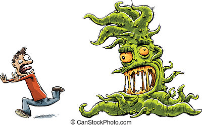 Monster Chasing Man - A slimy, green cartoon monster with...