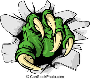 An illustration of a green monster claw ripping or tearing through a hole
