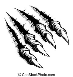 Black and white illustration of monster claws breaking through ripping tearing and scratching the wall. Vector illustration