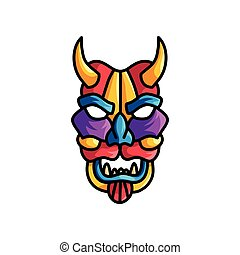 Monster colorful mask with different colors, violet, blue, red