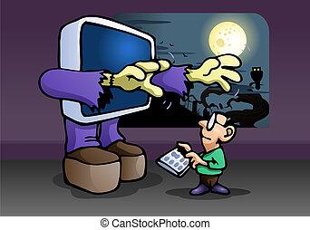 monster computer attack kid