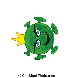 Monster coronavirus character with Cartoon Style