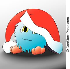 monster Cute cartoon blue christmas hat on his head