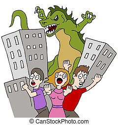 Monster Destroys City - An image of a monster destroying...