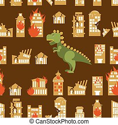 Monster destroys city. Street and House broken. Godzilla in seamless pattern. Scary dinosaur destroyed urban structure. Scary big green animal and office buildings.