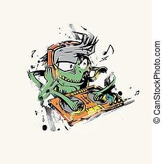 Monster dj beard mixing music on the turntables. stiker Vector Illustration.