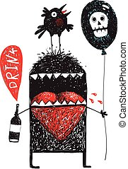 Monster drunker holding bottle with bubble drink balloon and bird