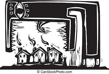 Monster eating houses