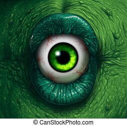 Monster Eye - Monster eye halloween ogre demon closeup with...