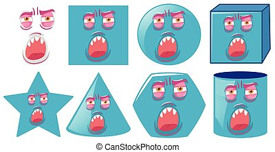 Monster face on different shape