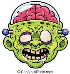 Monster face - Vector illustration of Cartoon Monster Zombie...