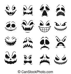 Monster faces set of Halloween emoticons, emojis