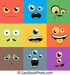 Monster faces vector icons set in flat style