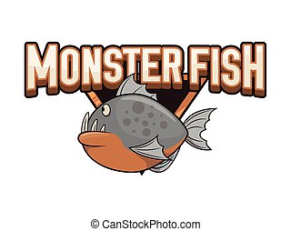monster fish illustration design colorful