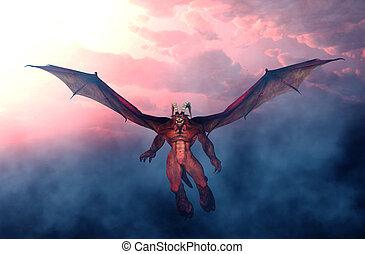 monster, fliegendes, gruselig, himmelsgewölbe, abbildung, oben