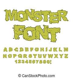 Monster font. Horrible Alphabet letters of green. Sweet...