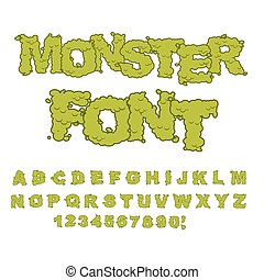 Monster font. Horrible Alphabet letters of green. Sweet...