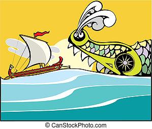 monster., grec, bateau, mer