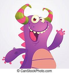 monster, halloween, abbildung, feuerdrachen, dragon., vektor, violett, karikatur, glücklich