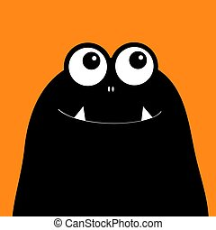 Monster head silhouette. Two eyes, teeth, fang. Black Funny Cute cartoon character. Happy Halloween card. Baby collection. Flat design. Orange background.