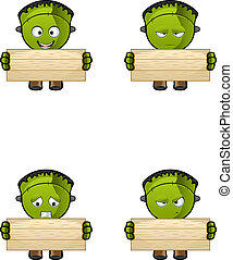 Monster - Holding A Wooden Board