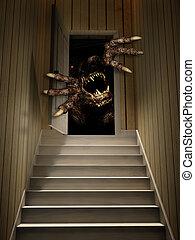 monster, in, open deur