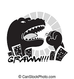 Monster in the city - Dangerous black and white Godzilla-...