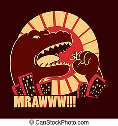 Monster in the city - Dangerous Godzilla-like monster in the...