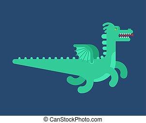 monster., isolated., volare, illustrazione, drago, vettore, verde
