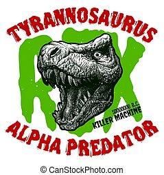 monster., kopf, dinosaurierer, emblem., trex, logo