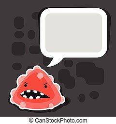 monster., mały, gniewny, wirus, tło, albo