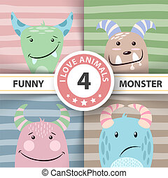 monster., mignon, ensemble, items., quatre