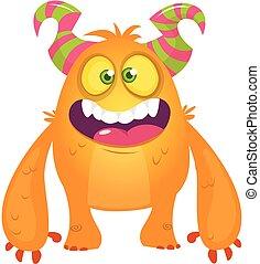 monster., mostro, halloween, illustrazione, cartone animato, vettore, arancia, eccitato