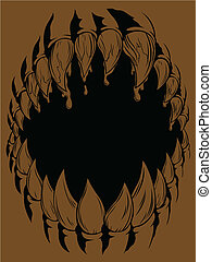 A vector of claws monster mouth opening wide, symbolizing the rage & ferocity of animal/monster. This vector is the original version, the grunge version available in my gallery/portfolio. Available as a Vector in EPS8 format that can be scaled to any size without loss of quality. Good for many uses...