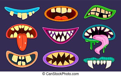 Monster mouth. Cute scary goblin, gremlin and aliens mouths with tongue and teeth. Halloween trolls caricature cartoon vector set