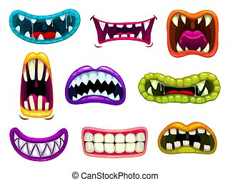 Monster mouths with sharp teeth and tongues set