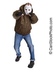 monster of cruelty - anonymous man with plastic mask...