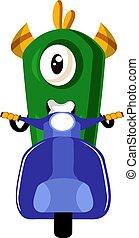 Monster on scooter, illustration, vector on white background.