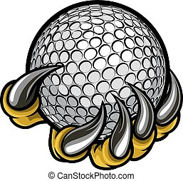 A monster or animal claw holding a golf ball